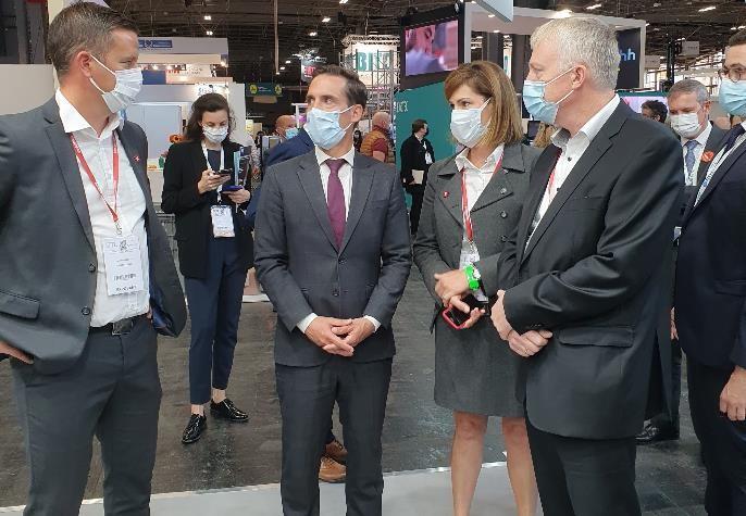 Jean-Baptiste Dejbbari, Ministre délégué aux Transports, sur le stand Element Logic à la SITL