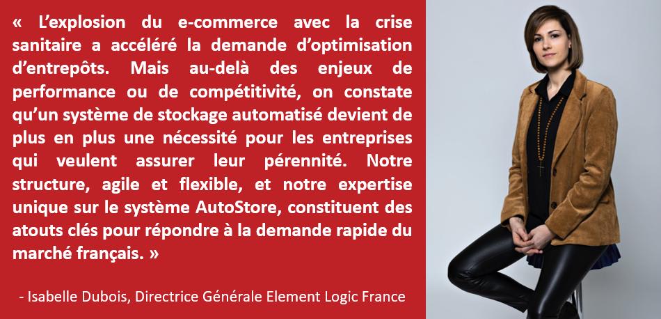 Isabelle Dubois, Directrice Générale Element Logic France